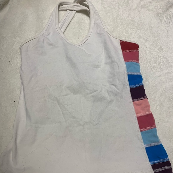 lululemon athletica Tops - Rare Lululemon tank Size 4 white w/ color stripe